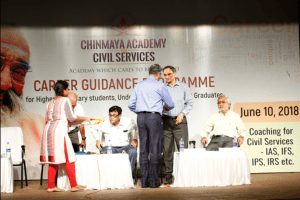Respecting faculties with special gifts at Chinmaya career guidance program