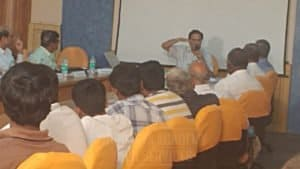 Guest lecturer giving detailed explanation in his lecture presentation in chinmaya IAS Academy