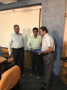 Guest lecturer receiving return gift at Chinmaya IAS Academy located in Chennai