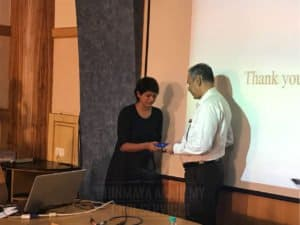 Guest lecturer getting special gifts at Chinmaya IAS Academy