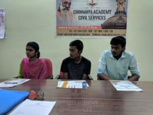 IAS candidates waiting to give admission forms at Chinmaya Civil Services Coaching centre